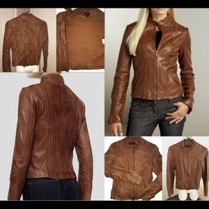 Women's Bagatelle brown leather jacket Sz 4